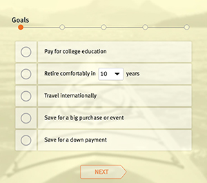 Select your financial goal for the financial goal calculator